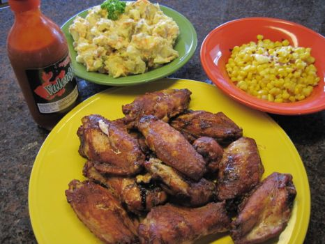 BQ Wings, Tater Salad and Chili Flake Corn....mmm, Good!