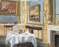 """""""The Queen at Breakfast.""""  Painted by Prince Philip, 1957"""