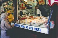street side fish stall - small town - 1991 England trip