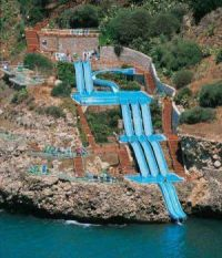 Superslide in to the Mediterranean Sea Sicily, Italy