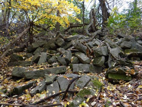 pile of stones pushed over the ravine, went back on Saturday to get pic