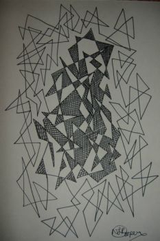 Zentangle Line Drawing - Glass Shards