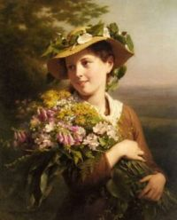 Zuber Buhler Fritz   A Young Beauty Holding A Bouquet Of Flowers