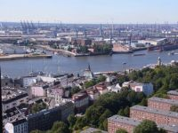 Port of Hamburg from the Michel