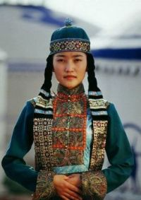 Mongolian woman in t by Traditional Clothing