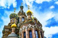 Jeweler's enamel decorated onion-domes of the Church of the Savior on Spilled Blood in Saint Petersburg, Russia