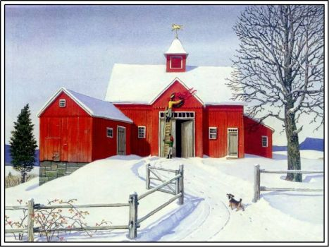 Red Barn at Christmas time.
