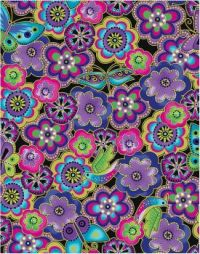 L. Burch purple & green flower pattern