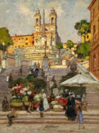 Heinrich Hermanns--Flower Market at the Spanish Steps in Rome