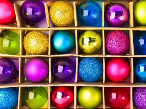 Colorful festive balls New Year
