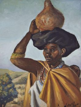 Pemba, George Mnyalaza Milwa. Xhosa Woman Carrying a Calabash