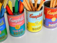 soup can pen holders - small