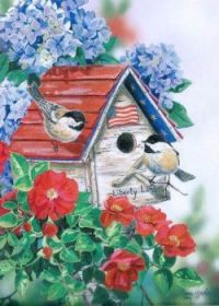 Patriotic Chickadee Birdhouse Notecard