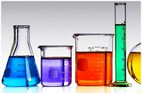 Glass Chemistry Vessels Containing Coloured Liquids