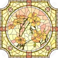 29902414-Vector-mosaic-with-large-cells-of-brightly-orange-flax-with-buds-in-round-stained-glass-window-frame-Stock-Vector