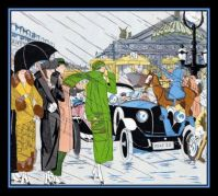 Themes Vintage illustrations/pictures - Art Deco Fashion in the Busy City Streets