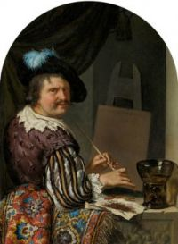 Willem van Mieris--Portrait of a Painter in an Alcove