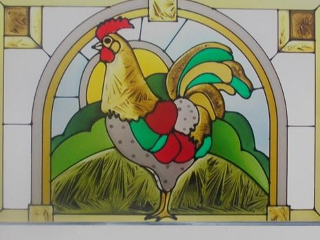 stained glass rooster!!!