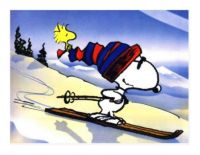 Snoopy skiing