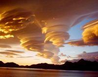 Lenticular clouds.