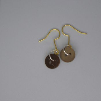 brown button earrings large