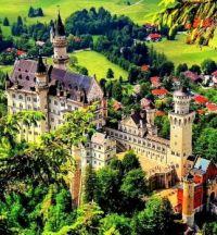 AERIAL OF NEUSCHANSTEIN CASTLE, GERMANY