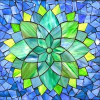 Stained Glass Mosaic Flower Art