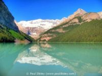 Lake Louise in Banff, one of the muraine lakes that are colored by the ground rock from the glaciers above it.