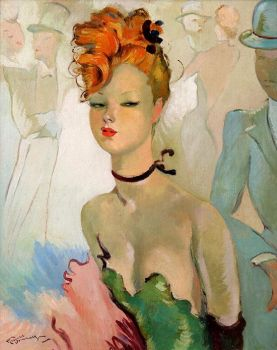 Art by - Jean-Gabriel Domergue   'Red Head'