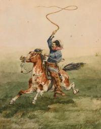 Frederic Remington (American, 1861–1909), Heading the Drove (1885)