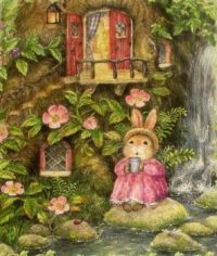 Holly Pond Hill Bunny Rabbit Tea Tree Home Get Well Greeting Card