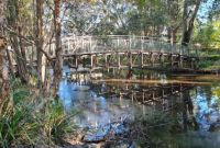 Bridge over creek reflection