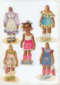 """Hattie"" A Cute Little Black Paper Doll Girl By Judy Yates"