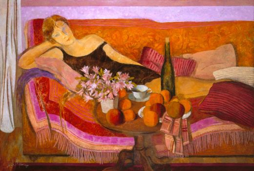 Woman reclining with fruit
