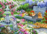 Kittens in spring garden