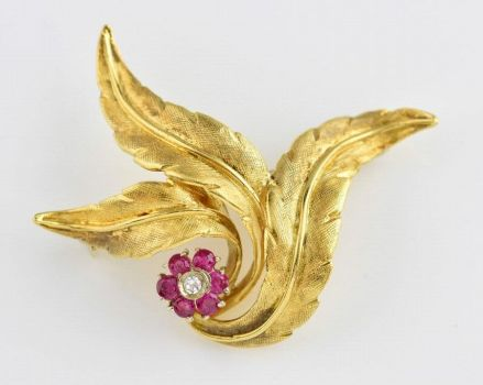 Gold Leaves W/Flower Pin
