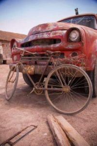 Old truck and an old bike
