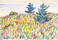 Watercolor no. 35, Field with Two Pine Trees, Allen Tucker