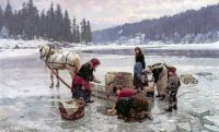 """Jahn Ekenaes, """"Women doing Laundry through a Hole in the Ice"""", 1891"""