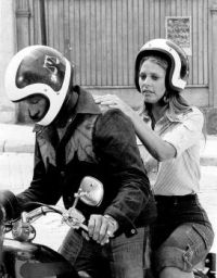 Lindsey Wagner on a Bike with Evel Knievel