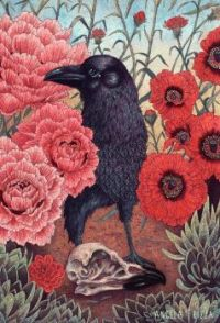 crow with poppies