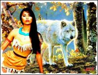 Pocahontas and a wolf
