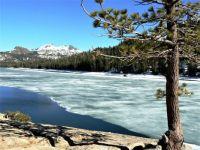 Icy lake along Highway 88, California