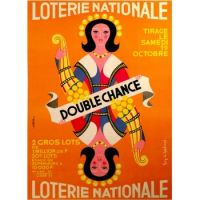 French mid-century modern poster for Loterie National by Guy Chabrol - 1963