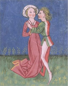 An Illustration of a Couple Embracing