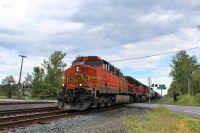 BNSF  Golden Swoosh leads a grain/empty tank train west into Syracuse