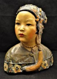 Antique Chalkware Bust of Asian Woman [1923]