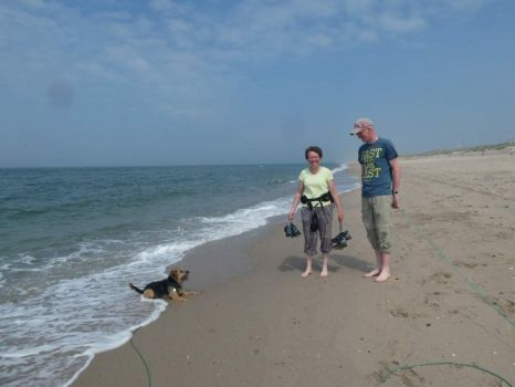 My daughter and hubbie and dog Bobbie on the beach (with me) in Rockanje