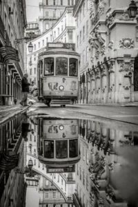 Lisbon tram reflection