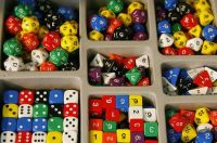 Polyhedral dice in a tray
